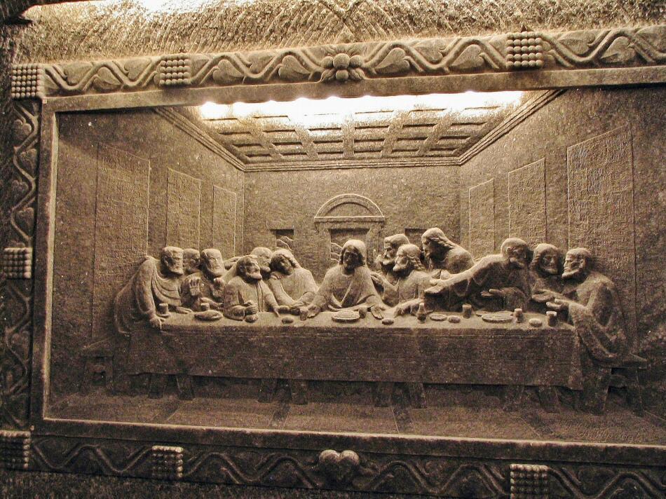 Escultura de sal en la Capilla de Santa Kinga en las Minas de Sal de Wieliczka
