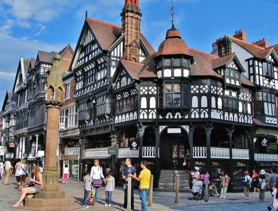 Casas entramadas en Chester en Inglaterra