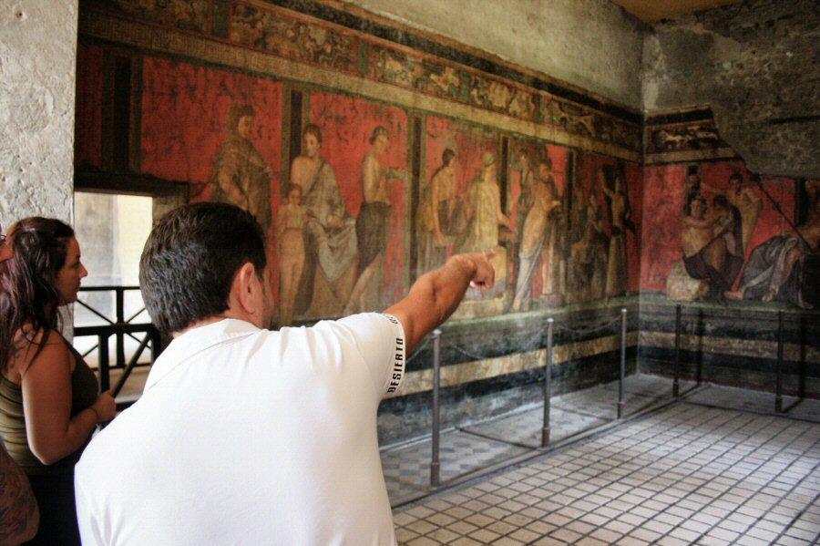 Villa de los Misterios en las ruinas arqueológicas de Pompeya en Italia