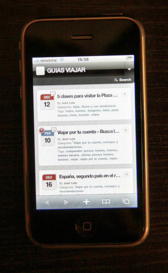 Diseño adaptado de Guias Viajar para consultar desde tu móvil smartphone