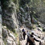 Escalinata de bajada del Castillo de Monfrague en el parque nacional en Extremadura
