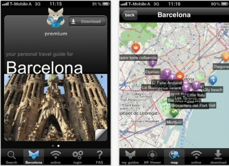 Guias de viajes de la red social Tripwolf para iphone