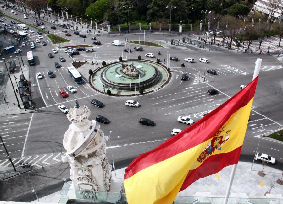 Vistas panorámicas de Madrid desde la terraza mirador del Palacio de Cibeles