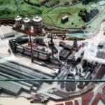 Maqueta de la factoría siderúrgica en el Musi de La Felguera