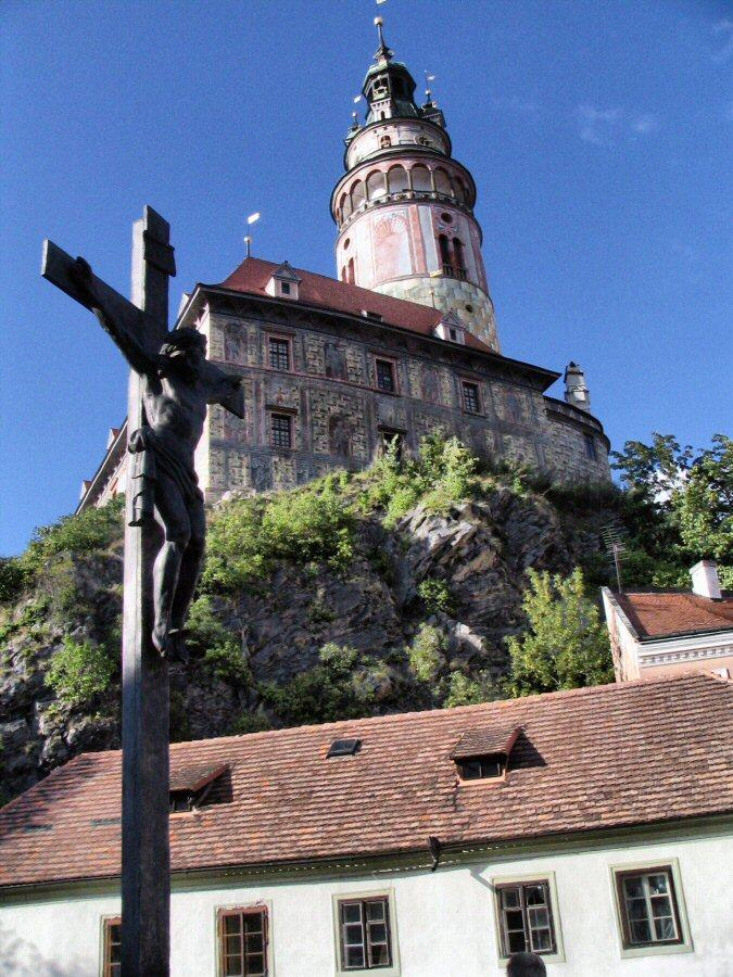 Castillo del pueblo medieval de Cesky Krumlov en República Checa