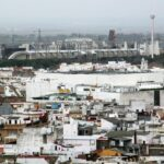 Vistas panorámicas del Isla de la Cartuja desde la Giralda de Sevilla