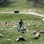 Círculo de piedra del neolítico en el monte Azpegui de Irati en Navarra