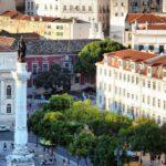 Vistas panorámicas de la plaza del Rossio desde el Elevador de Santa Justa en Lisboa
