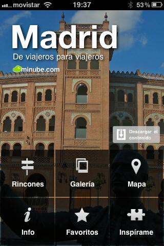 Guía social de viajes de Madrid, aplicación de Minube para móviles