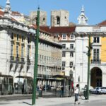 Rincón de la Plaza del Comercio en Lisboa