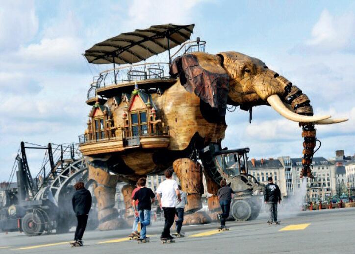 El Gran Elefante, máquina en el recorrido cultural del Viaje a Nantes 2012