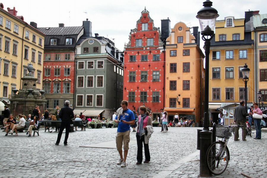 Plaza central en la ciudad vieja de Gamla Stan en Estocolmo