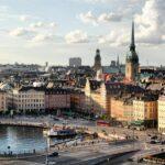 Vistas panorámicas de Gamla Stan en Estocolmo desde el Ascensor Katarina