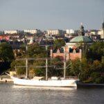 Vistas panorámicasde la isla Djurgarden de Estocolmo desde el Ascensor Katarina