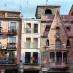 Fachadas de casas de la plaza Mayor de Plasencia en Extremadura