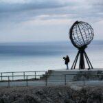 Monumento del Cabo Norte en el norte de Noruega