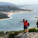 Desembocadura del Río Miño desde el Monte Santa Tecla en Galicia