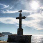 Atardecer en el parador nacional de Bayona en Galicia