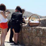 Celebración por llegar al Cabo de Roca, punto más occidental de Europa