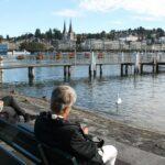 Orillas del lago en Lucerna en Suiza
