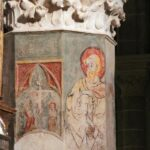 Pinturas góticas en columna de la Catedral de Tarazona en Aragón