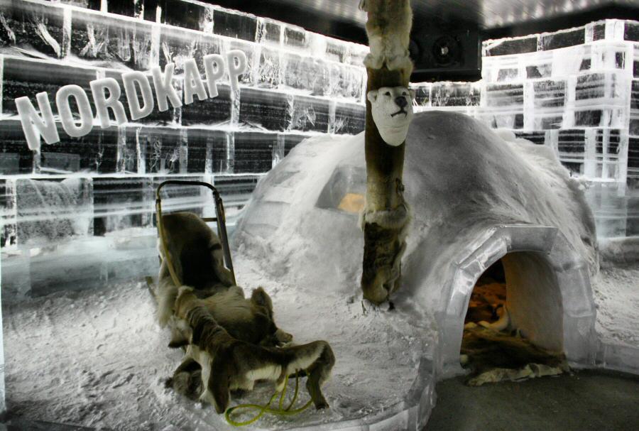 Ice Bar en Honningsvag en Cabo Norte en Noruega