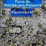 Señalización de calles en francés y alemán en Friburgo en Suiza