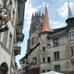 Rincón de la Ciudad Vieja de Friburgo en Suiza