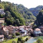 Barrio medieval de Auge en Friburgo junto al río Sarine