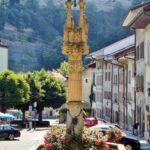 Fuente en el barrio medieval de Auge en Friburgo