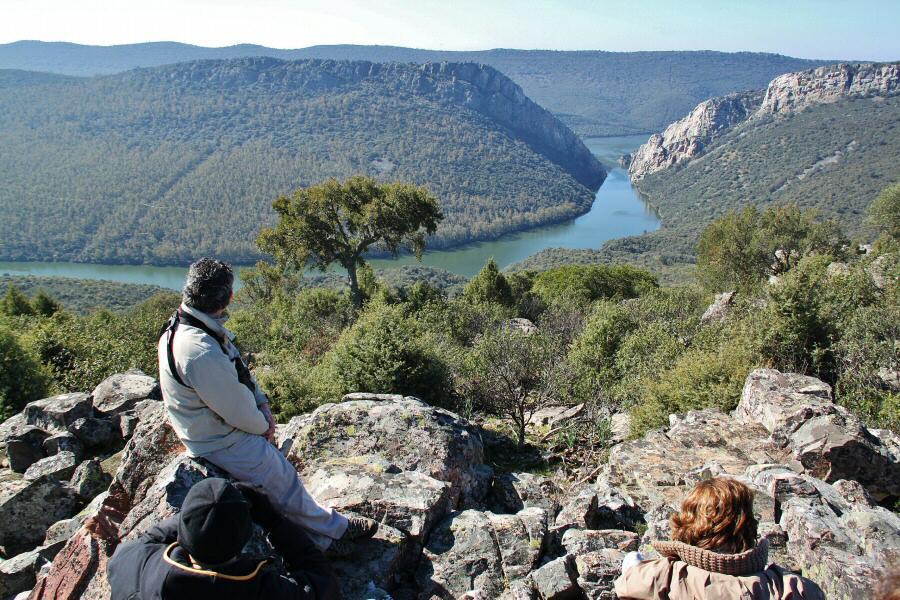 Paraje del Salto del Corzo en el parque nacional de Monfrague en Extremadura