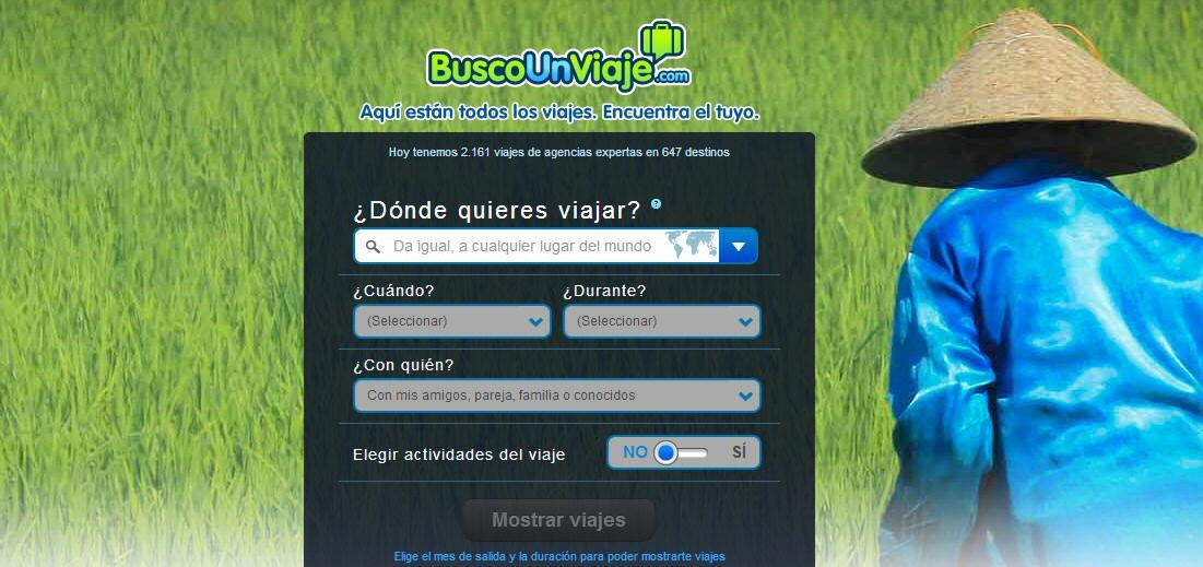 Buscador inteligente de viajes ofrganizados BuscoUnViaje.com