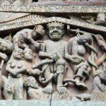 Esculturas en el tímpano del Juicio Final de la Abadía de Conques