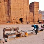 Puesto de souvenir en Petra en Jordania
