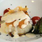 Lomo de bacalao con queso de Catí y trufa en rest El Prigó de Catí