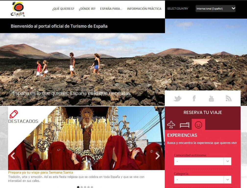 Experiencias turísticas en web oficial spain.info