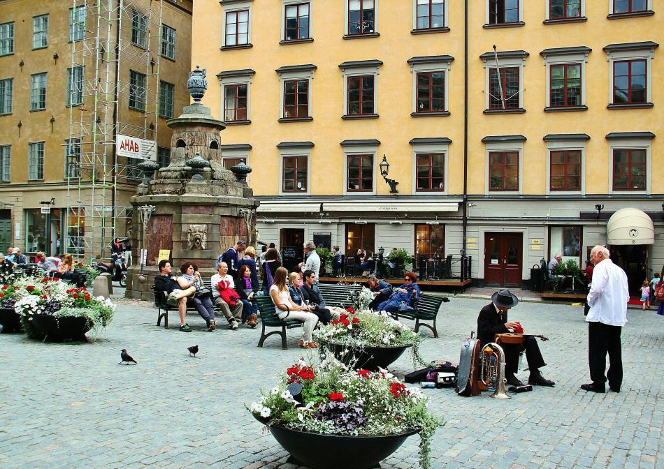 Plaza central de la ciudad vieja de Gamla Stan en Estocolmo en Suecia