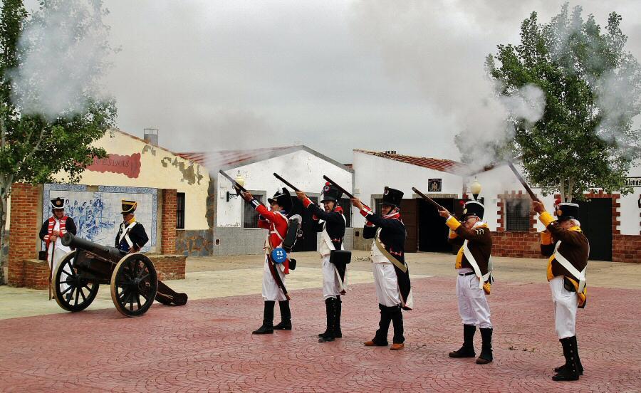 Ensayo de la recreación histórica de la Batalla de la Albuera en Badajoz