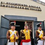 Participantes en la recreación histórica de la Batalla de la Albuera en Badajoz