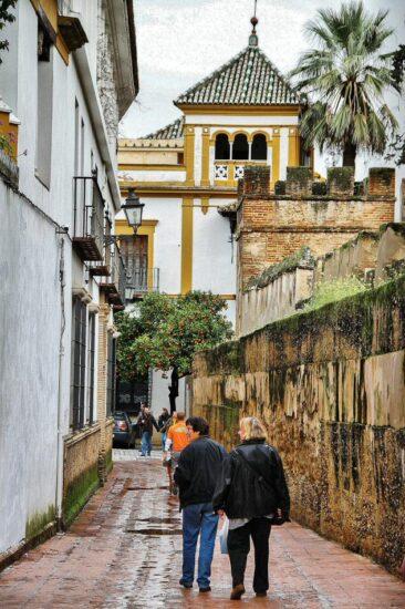 Calle Agua en Barrio de Santa Cruz en Sevilla