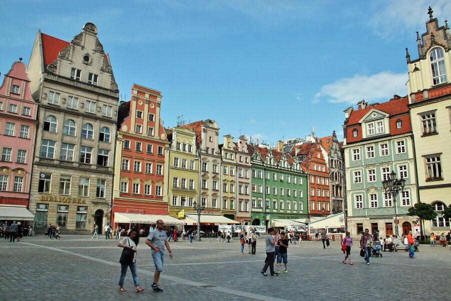 Rincón de la plaza del mercado de Wroclaw en Polonia