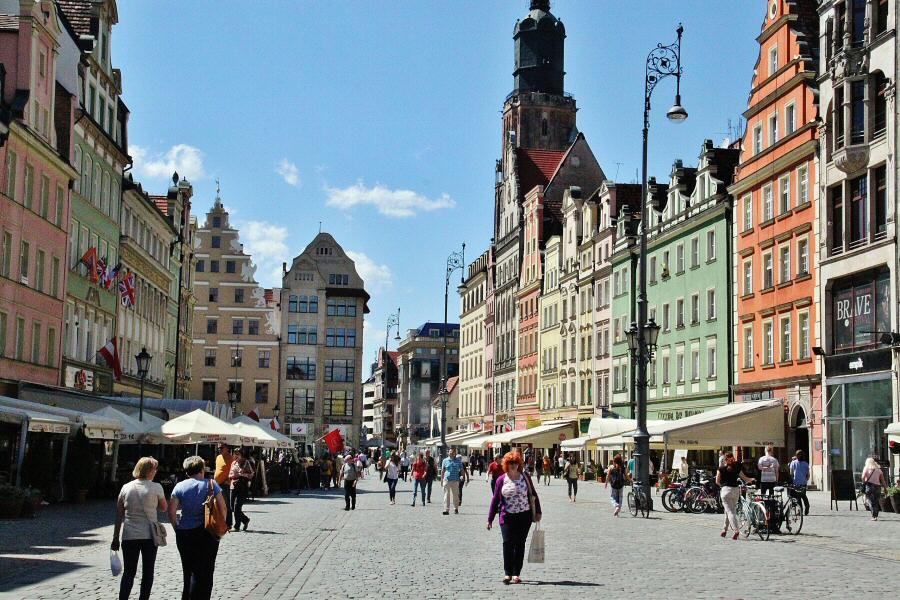 Rincón de la plaza del Mercado de Wroclaw