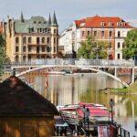 Rincón del río Odra en Wroclaw en Polonia
