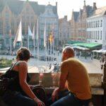 Vistas de la plaza del Mercado desde el Historium de Brujas