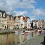 Panorama del muelle Korenlei en Gante