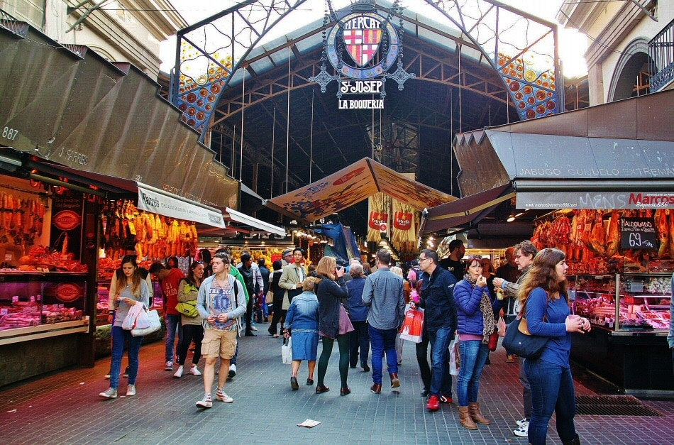 Mercado de La Boquería en La Rambla de Barcelona