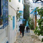 Callejón en Sidi Bou Said en Túnez