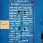 Carta de heladería en Sidi Bou Said en Túnez