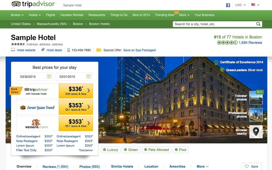 Reserva de hoteles en TripAdvisor
