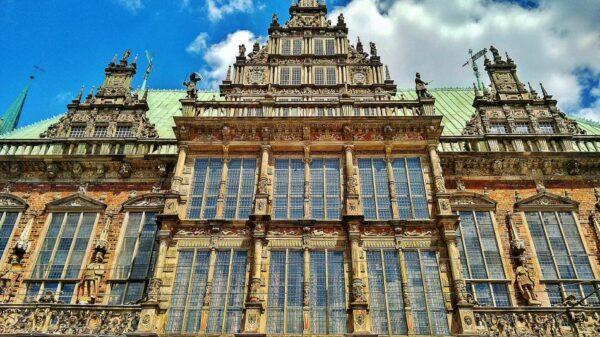 Ayuntamiento de Bremen en la plaza del Mercado al norte de Alemania
